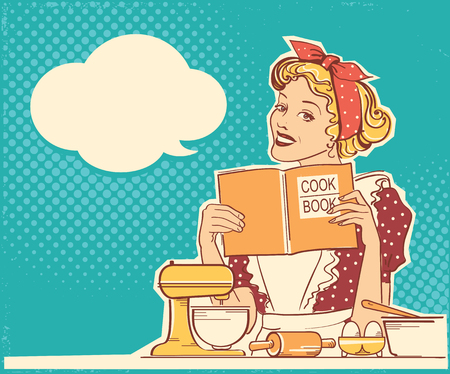 Young woman cooking and holding cook book in her hands on kitchen room.Reto style color illustration with speech bubble for text