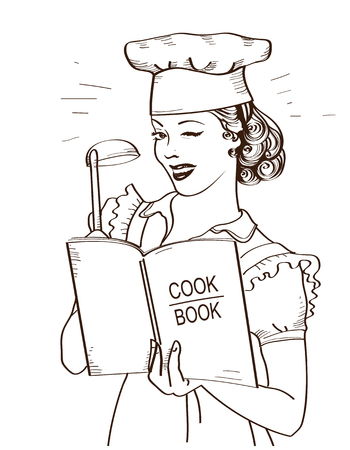 Young woman chef holding cook book in her hands on kitchen room.Reto style illustration isolated on white 向量圖像