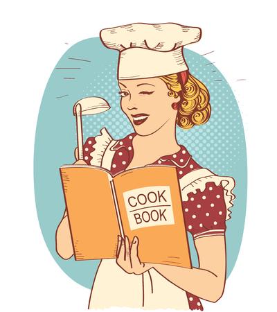 Cuoco unico della giovane donna retrò che tiene il libro di cucina in mano sulla stanza della cucina. Pin up stile illustrazione isolato su bianco