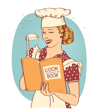 Retro Young woman chef holding cook book in her hand on kitchen room. Pin up style illustration isolated on white