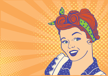 Smiling young retro woman portrait with retro hairstyle.Vector illustration pop art background for text
