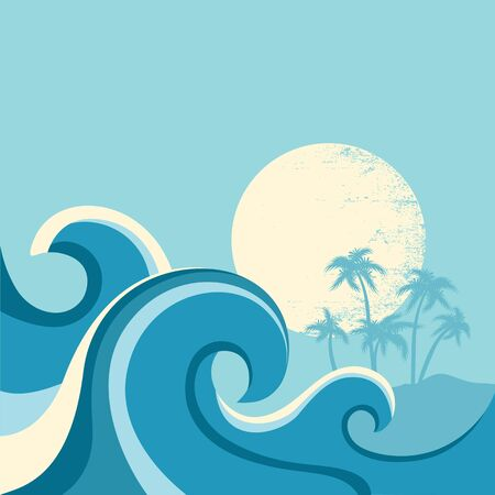 Nature seascape poster with sea waves and sun.Vector blue background 矢量图像