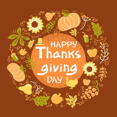 Happy Thanksgiving day card. Vector Beautiful handwritten Illustration Autumn color round frame with text Stock fotó - 132556088
