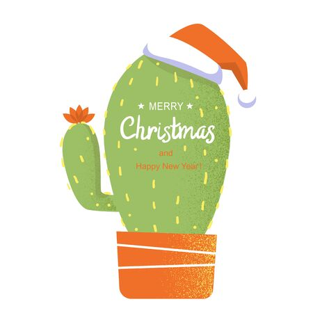 Merry Christmas card. Cactus in Santa hat and holiday text. Vector greeting card illustration background isolated on white