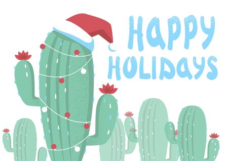 Christmas card with cactuses and holiday text. Vector greeting card background on white Иллюстрация