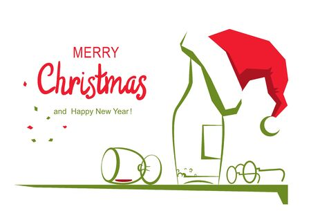 Christmas greeting card with text. Vector cartoon illustration of holiday table with alcohol and Santa hat isolated on white.  イラスト・ベクター素材