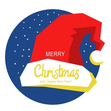Merry Christmas card with red Santa hat. Vector winter holiday illustration on white. Christmas greeting card