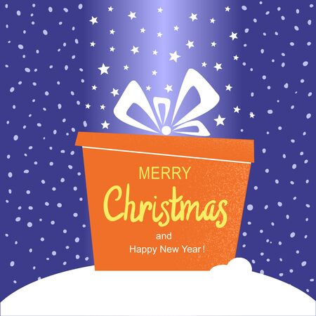 Merry Christmas card with present gift and holiday text. Vector winter holiday illustration on snow background