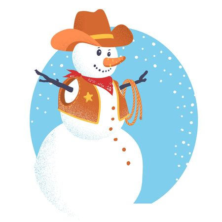 Snowman in western cowboy clothes. Vector Merry Christmas card with winter snow background illustration isolated on white Illustration