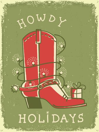 Cowboy vintage christmas card with boot decoration. Vector red American retro greeting card on old paper texture with text