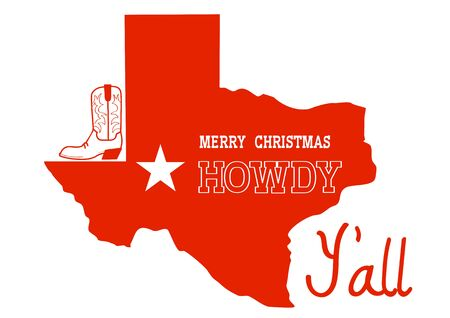 Christmas Texas Howdy. Vector American illustration with red map of Texas silhouette and holiday text and cowboy boot decoration isolated on white