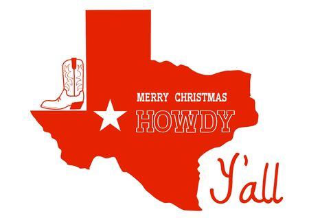 Navidad Texas Hola. Vector ilustración americana con mapa rojo de la silueta de Texas y texto de vacaciones y decoración de botas de vaquero aislado en blanco