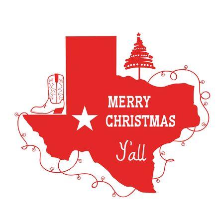 Tarjeta de feliz Navidad Texas. Vector ilustración americana con mapa rojo de la silueta de Texas y texto de vacaciones y decoración de botas de vaquero aislado en blanco