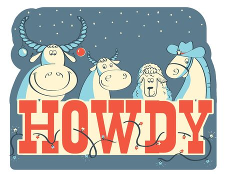 Howdy Christmas card illustration with farm animals and holiday text. Vector American Christmas card