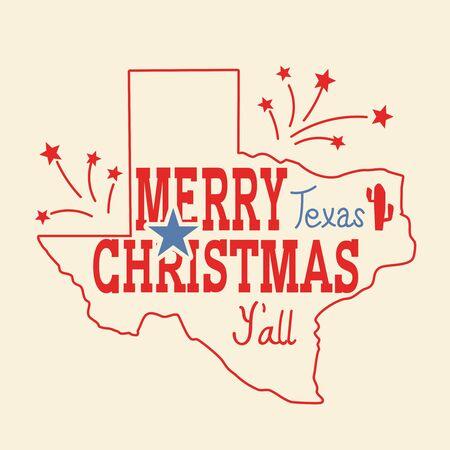 Feliz Navidad tarjeta de felicitación de Texas. Vector cartel vintage americano con mapa de Texas silueta y texto de vacaciones para diseño