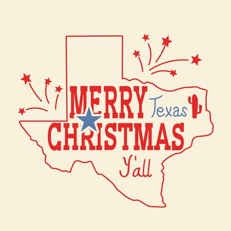 Merry Christmas Texas greeting card. Vector American vintage poster with map of Texas silhouette and holiday text for design