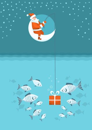 Christmas fishing card. Santa Claus with present box fishing sitting on moon. Vector Winter holiday illustration background