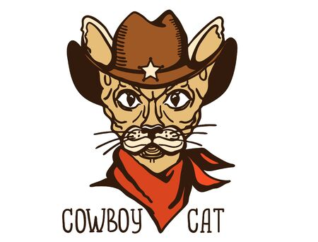 Cat cowboy with western cowboy hat and red bandanna. Vector printable cat animal hand drawn color illustration isolated on white