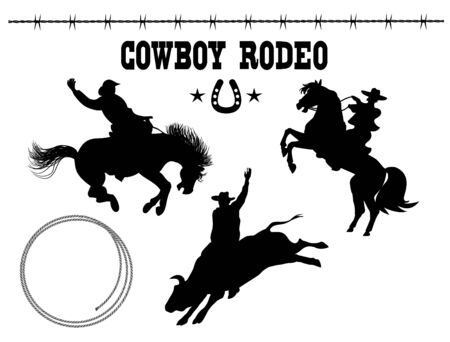 Rodeo. Vector American set of Rodeo. Black silhouette riders on bull and wild horse on white background with text