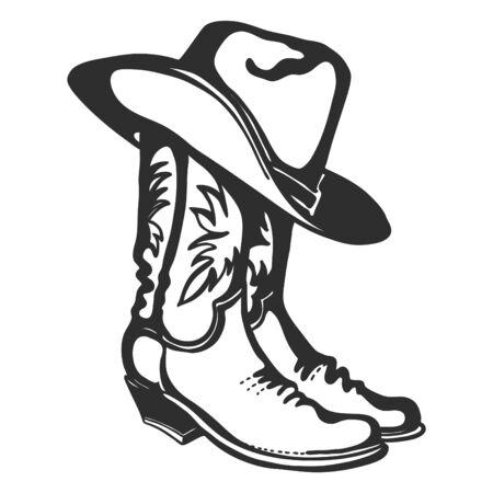 Stivali da cowboy e cappello. Illustrazione disegnata a mano grafica vettoriale isolata su bianco per la stampa o il design Vettoriali