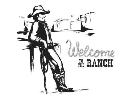 Welcome to the ranch. American Cowboy on wild west sunset landscape. Vector illustration