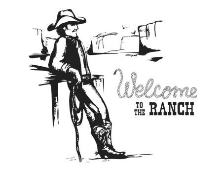 Willkommen auf der Ranch. Amerikanischer Cowboy auf wilder Westsonnenunterganglandschaft. Vektor-Illustration