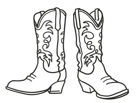 Botas de vaquero. Ilustración de dibujado a mano gráfico vectorial aislado en blanco para impresión o diseño