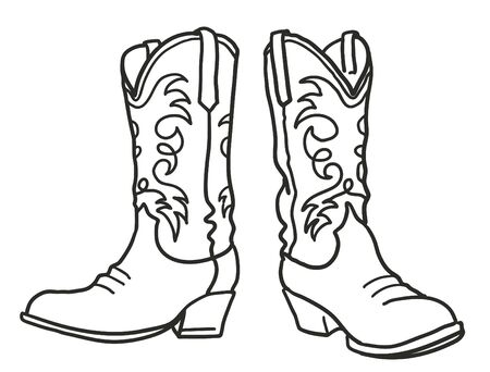 Stivali da cowboy. Illustrazione disegnata a mano grafica vettoriale isolata su bianco per la stampa o il design
