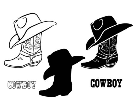 American Cowboy boots and hat. Vector set graphic illustration of western cloth isolated on white Vektorové ilustrace