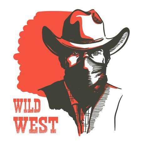 Hombre de retrato de vaquero del salvaje oeste en máscara de pañuelo. Vector hombre bandido occidental con sombrero de vaquero con texto aislado en blanco