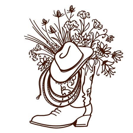 Cowboy boot with Flowers isolated on a white background. Sketch hand drawn vector close-up illustration for design. Cowboy hat and lasso decoration