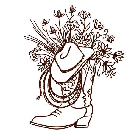 Stivale da cowboy con fiori isolati su sfondo bianco. Illustrazione disegnata a mano del primo piano di vettore di schizzo per il disegno. Cappello da cowboy e decorazione lazo