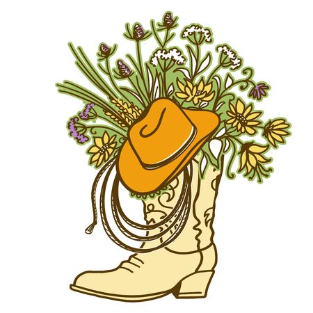 Cowboy boot with Flowers and cowboy hat and lasso decor. Sketch hand drawn vector close-up color illustration for design.