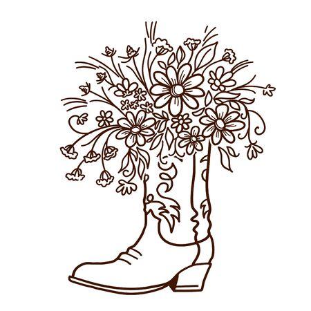 Botte de cow-boy avec des fleurs isolées sur fond blanc. Croquis dessinés à la main close-up illustration vectorielle pour la conception Vecteurs