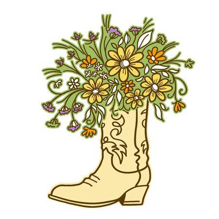 Stivale da cowboy con fiori isolati su sfondo bianco. Schizzo disegnato a mano vettore primo piano illustrazione a colori per il design. File di taglio