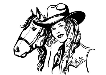 Woman with cowboy hat portrait and horse. Vector han drawn illustration isolated on white. Cute girl with western clothes.