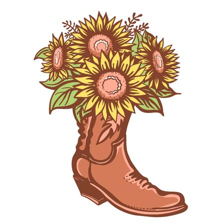Flowers in boot. Cowboy boot with sunflowers. Vector color printable illustration isolated on white background. Hand drawn vector close-up graphic illustration. Country bouquete