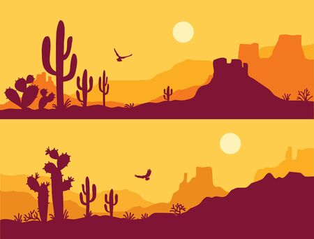 Desert landscape with Cactuses. Arizona desert mountains silhouette Vector nature horizontal background