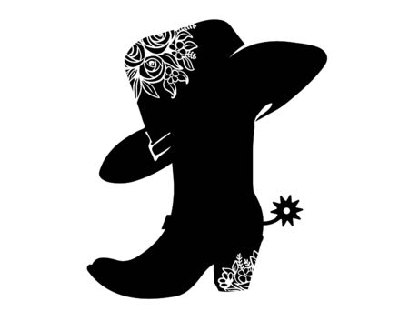 Cowboy boot black silhouette for text or decoration. Vector Cowgirl party printable illustration isolated on white. Western boot and hat