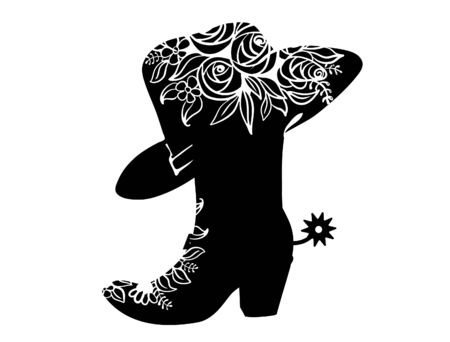 Cowboy boot black silhouette for text or decoration. Vector Cowgirl party printable illustration isolated on white. Western boot and hat background