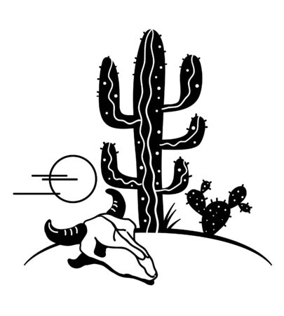 Desert landscape with Cactuses and cow skull. Arizona desert cactuses black silhouette and cow skull isolated on white.