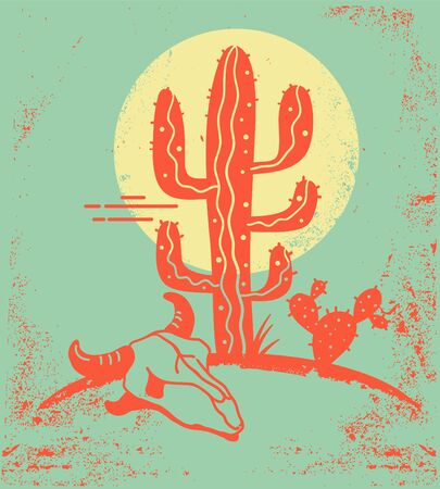 Desert landscape with Cactuses and cow skull. Vintage poster of Arizona desert with yellow sun and cactuses silhouette and cow skull on old paper texture.