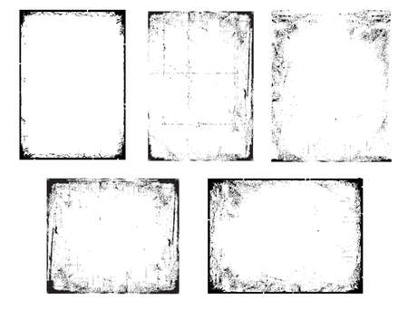 Grunge Black and White urban vector texture Frames. Distressed texture background. Collection of urban grunge abstract textures on white for design