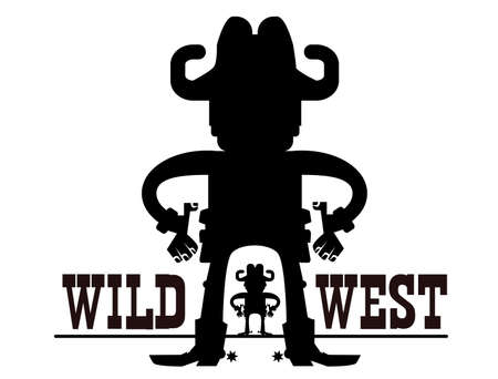 Gunfighters. Cowboys with guns. Wild west gunslingers shoots pistols vector graphic cartoons isolated on white. Western duel