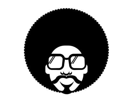 Retro Disco man 70s hairstyle. Vector black silhouette portrait man with retro sunglasses isolated on white