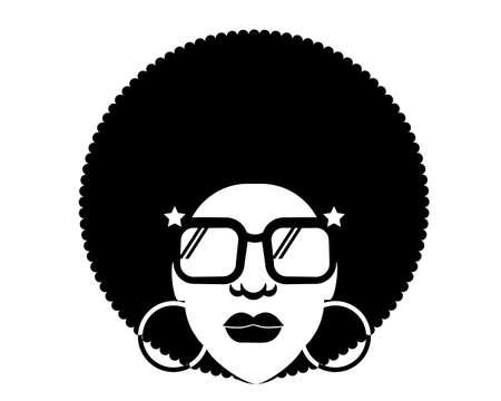 Retro Disco woman 70s hairstyle. Vector black silhouette portrait man with retro sunglasses isolated on white Vettoriali