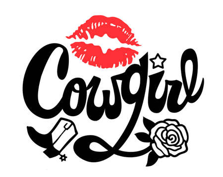 Country Girl Handwritten Lettering. Cowgirl Printable vector illustration with red print lips. Modern Calligraphy Text with Wild West decoration