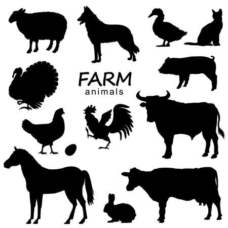 Farm animals set vector black silhouette isolated on white for design