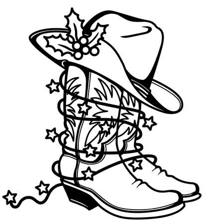 Cowboy Christmas printable Cowboy boots and hat with holly berry and holiday lights. Western boots and hat vector illustration isolated on white for design 矢量图像