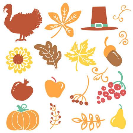 Happy Thanksgiving day objects. Vector Beautiful handwritten Illustration Autumn symbols isolated on white.